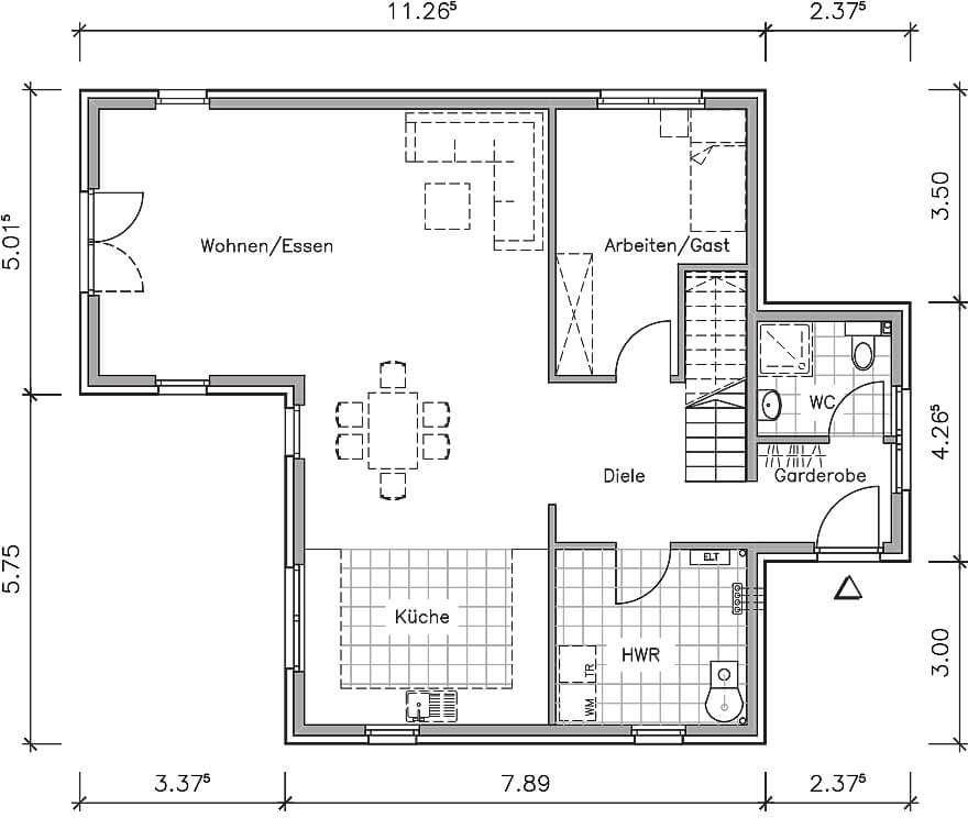 stadthaus stadtvilla grundriss erdgeschoss mit 93 40 qm wohnflache