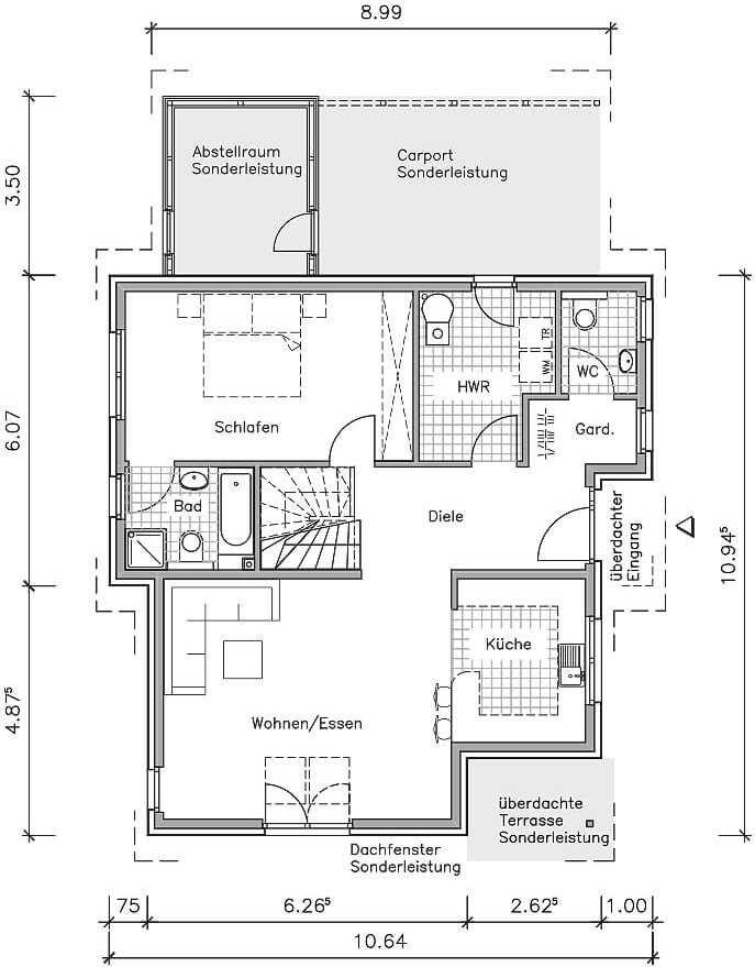 Studiohaus S 140 Ein Pultdachhaus Grundriss Von Nurdahaus